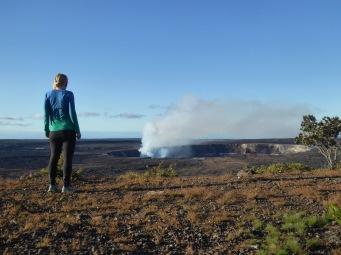Shailyn running along a volcanoe crater